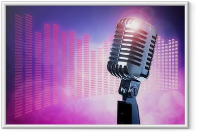 Poster en cadre Vintage microphone sur scène - Rock