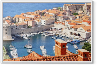 Old town Dubrovnik and the marina Framed Poster