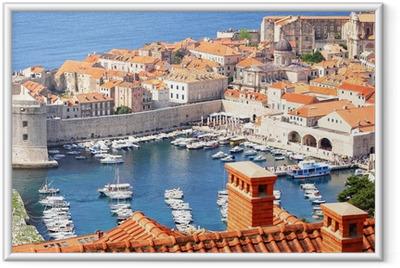 Ingelijste Poster Oude stad Dubrovnik en de jachthaven