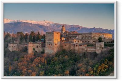 Plakat w ramie Pałacu Alhambra, Granada, Hiszpania