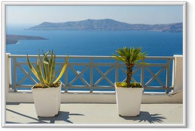 Gerahmtes Poster Schöne Meerblick von Fira in Santorin, Griechenland