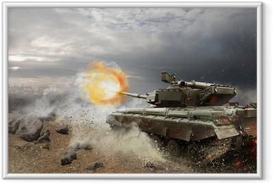 Heavy armor in the fire of battle Framed Poster