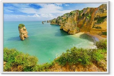 Poster in Cornice Idilliaco paesaggio spiaggia a Lagos, Algarve (Portogallo)