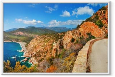 Plakát v rámu Působivé krajiny Korsiky - Red Rocks Calanques a moře fa58b241787