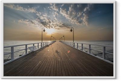Ingelijste Poster Zonsopgang op de pier