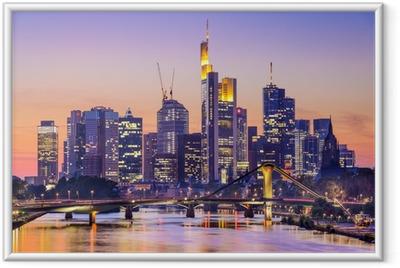 Ingelijste Poster Frankfurt, Duitsland City Skyline