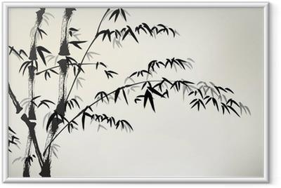 Póster com Moldura Tinta bambu pintado