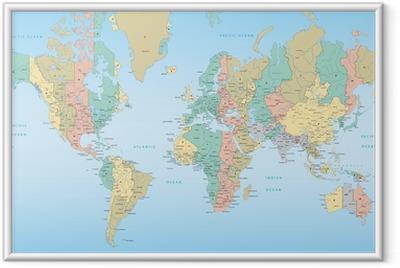 Ingelijste Poster Wereldkaart met tijdzones