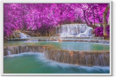Ingelijste Poster Waterval in regenwoud (Tat Kuang Si Watervallen bij Luang Praba
