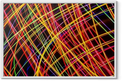 Ingelijste Poster Moderne kunst. lange blootstelling neonlichten textuur.