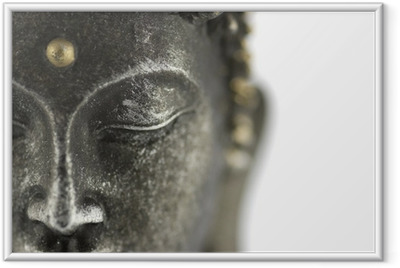 Statue de bouddha sur fond blanc Indrammet plakat