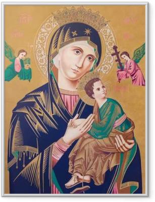 Ingelijste Poster Typische katholieke beeld van de Madonna met het kind (Onze Lieve Vrouw van Altijddurende Bijstand)