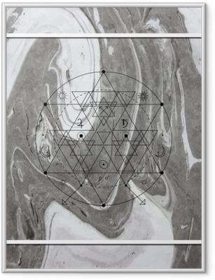 Poster in Cornice Astratta geometria mistica, l'alchimia lineare, occulto, segno filosofico.