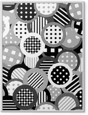 Poster in Cornice Sfondo bianco e nero con cerchi