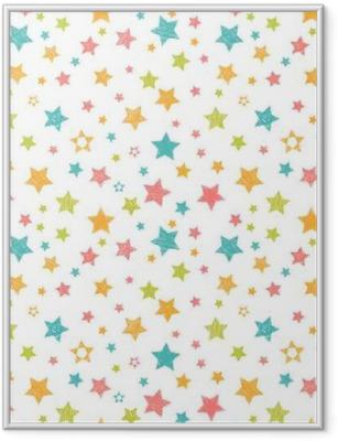 Poster en cadre Pattern mignon avec des étoiles. print élégant avec la main dessinée - Environnement