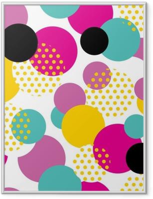 Gerahmtes Poster Nahtlose geometrisches Muster im Retro-Stil der 80er Jahre. Pop-Art-Kreis-Muster auf weißem Hintergrund.