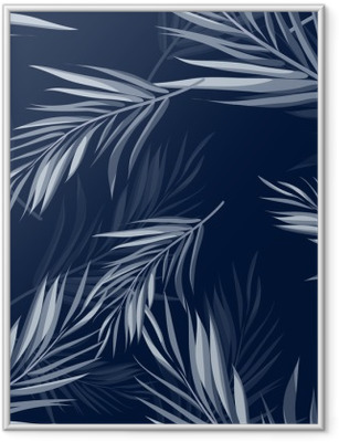 Tropical seamless monochrome blue indigo camouflage background with leaves and flowers Framed Poster