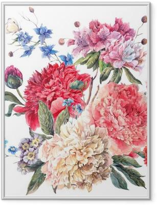 Poster en cadre Carte de voeux florale vintage avec Blooming Pivoines