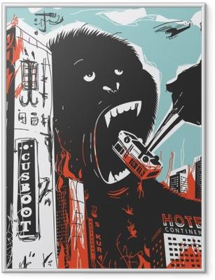 Ingelijste Poster Big Gorilla vernietigt Stad