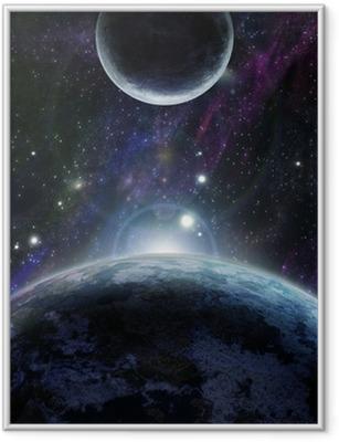 Poster en cadre Coucher de soleil avec deux planète bleue