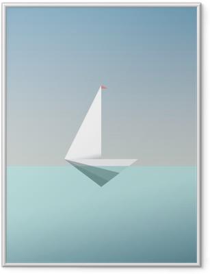 Poster in Cornice Yacht simbolo icona in basso e moderno stile poli. vacanza estiva o vacanza sfondo di viaggio. metafora di affari per la libertà e il successo.