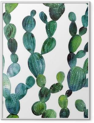 Ingelijste Poster Patroon van de cactus in aquarel stijl