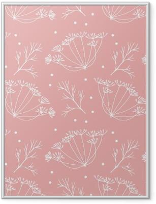 Poster en cadre Aneth ou fenouil fleurs et feuilles de motif. - Plantes et fleurs