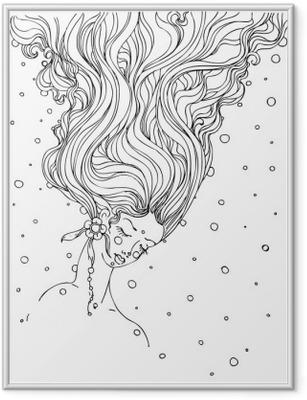 Plakat w ramie Ręcznie rysowane doodle atramentu dziewczynki twarzy i włosami na białym tle. projekt dla dorosłych, plakat, nadruk, t-shirt, zaproszenia, banery, ulotki. naszkicować. wektorowe EPS 8.