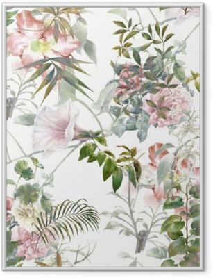 Plakat w ramie Akwarela liści i kwiatów, szwu na białym tle