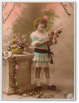5efc74631aa4cb Plakat w ramie Francuski antyczny archiwalne pocztówki dziewczynka.