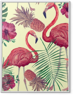 Seamless watercolor pattern with flamingo, leaves, flowers. Hanad drawn . Framed Poster