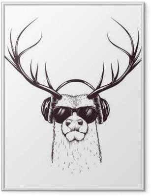 Gerahmtes Poster Hirsch in der Musik-Kopfhörer