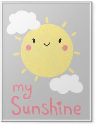 Gerahmtes Poster Niedlichen Cartoon Sonne Grafik, Vektor,