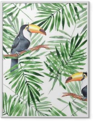 Poster en cadre Feuilles de palmier et toucan. modèle sans couture aquarelle 4 - Ressources graphiques