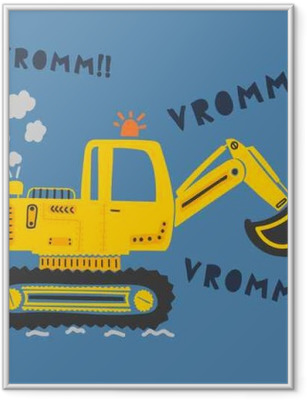 cute construction machine Framed Poster