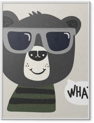 cool cartoon bear with sunglasses Framed Poster