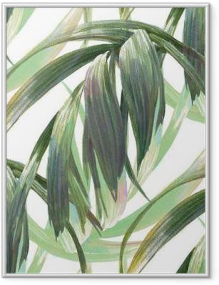 Watercolor illustration of leaf, seamless pattern on white background Framed Poster