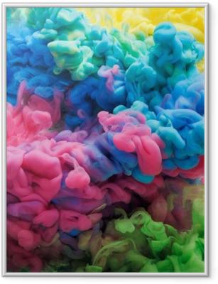 Gerahmtes Poster Bunte Acryltinte in Wasser isoliert. abstrakter Hintergrund. Farbenexplosion
