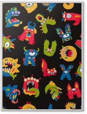 Gerahmtes Poster Muster von niedlichen Monstern