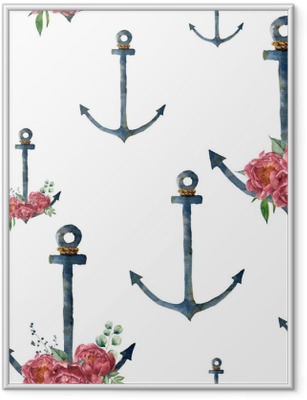 Watercolor pattern with anchor and peony flower. Hand painted vintage nautical illustration with floral decor isolated on white background. For design, print or background Framed Poster