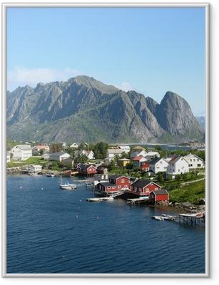 Póster Enmarcado Cabañas rouges en Norvège