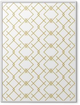 Gerahmtes Poster Stilvolles lineares geometrisches nahtloses Vektormuster im Gold