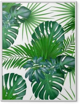 Poster en cadre Modèle de vecteur exotique botanique réaliste dessinés à la main sans soudure avec des feuilles de palmier vert isolé sur fond blanc.