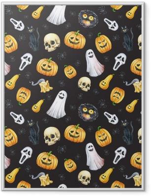 Gerahmtes Poster Happy Halloween nahtlose Muster Hintergrund. lustiger Kürbis, Geist, schwarze Katze, Monster. Aquarellillustration