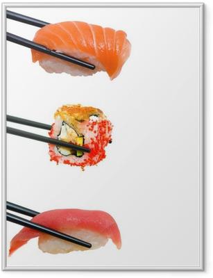 Póster com Moldura Sushi with chopsticks