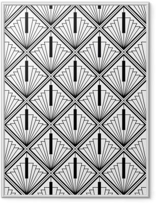 Poster en cadre Art déco monochrome sans couture arabe noir