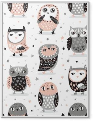 Vector seamless pattern with cartoon owls. Nursery decor Framed Poster
