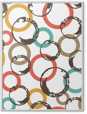 Seamless vector pattern with colorful circles. Framed Poster