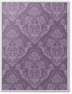 Póster Enmarcado Seamless papel tapiz floral púrpura