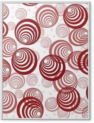 Poster in Cornice Sfondo retrò con cerchi rossi astratti